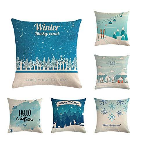 ZHAOCC Kissenbezug Kissenbezug Sofa Kissenbezug 6 Stück Set Weihnachten Schneeflocke Baum Schlafzimmer Wohnzimmer Dekoration