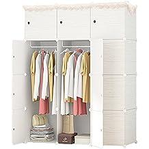 ETTBJA Armario Modular para Almacenaje de Ropa, Zapatos, Juguetes o Libros. Blanco por dentro y Patrón en estilo Madera clara en la parte Exterior (12 Cubos con 2 Barras para Perchas)