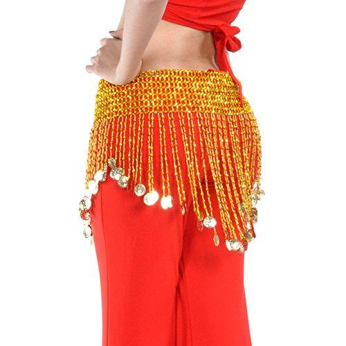 Dance Fairy Bauchtanz Hüfttuch Taille Kette mit Gold Münzen elastische Taillen Gold Medium( keine anderen Zubehör ) (Freitag Girl Kostüm)