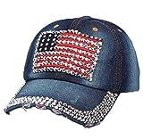 UFACE Cowboy-Baseballmütze Hohe Qualität Cowboy Hip-Hop-Baseballmütze voller Diamant flache Hysteresenhut (E)