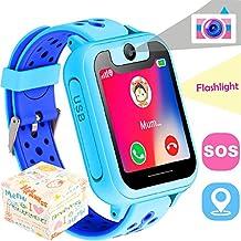 Kids Smart Watch GPS Tracker, il Perseids Phone orologio da polso per ragazzi 3 - 14 anni, Touch Screen monitor Remote camera anti-perso tasto SOS, Cool giocattoli regali per bambini, Android iOS (Blue)