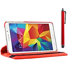 ebestStar - para Samsung Galaxy Tab 4 7.0 SM-T230, T231 T235 [: 186.9 x 107.9 x 9 mm, pantalla 7''] - Estuche Carcasa Funda PU cuero 360° rotativa + Estilete táctil, Color Rojo
