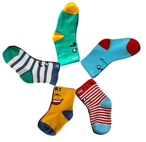 Lustige BUNTE Unisex SMILEY Baby-Socken Baby-Strümpfe Jungen-Socken Mädchen-Socken Jungen-Strümpfe Mädchen-Strümpfe 6 12 Monate 1 2 Jahre Fußlänge 10-14 cm mit Gesichtern Gelb Grün Blau Gestreift (Zwei Streifen-knöchel-socken)