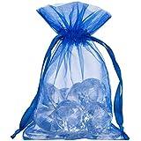 Takestop® Juego 50piezas Bolsas Bolsa Azul Organza 50x 14cm BOMBONIERA Bomboniere nacimiento boda cumpleaños Arroz Confetti regalo