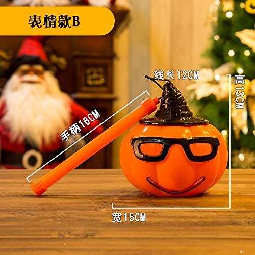 WSJDE Halloween Supplies Kürbislaterne Kinder Handheld Süßigkeiten Licht emittierende Kürbis Eimer Kindergarten Dekorationen PropMint Green