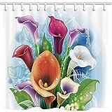 CDHBH Cortina de ducha decorativa con diseño de flores por coloridos dibujos animados y libélula blanca para el baño, resistente al moho, tejido de poliéster, resistente...