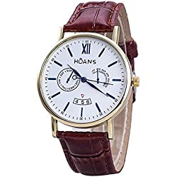 Men Wrist Watches - HUANS Men Rome digital Article Leather Band Quartz Wrist Watches Brown Band+Gold Dial
