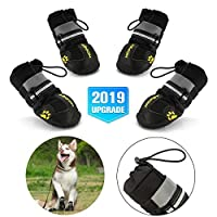 Petacc Protective Dog Boots, Set of 4 Waterproof Dog Shoes for Large Dogs, Black
