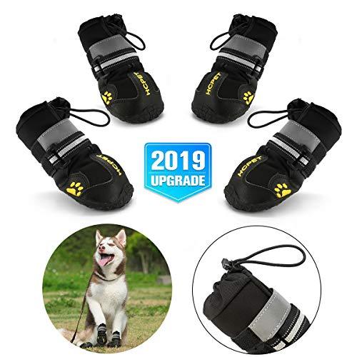 Hcpet Zapatos Perro, 4 Pcs Zapatos Antideslizantes para Perros con Resistente al Desgaste, Banda Interior Antideslizante y elástica Resistente para Mediano y Grandes Perros (6#)