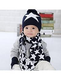 Scrox 1 Set Haute Quanity Bébés Hiver Coton Bonnet Bonnet Écharpe Gants Ensemble  Chapeau en Laine Coupe-Vent pour Enfants… 382733cd8d3