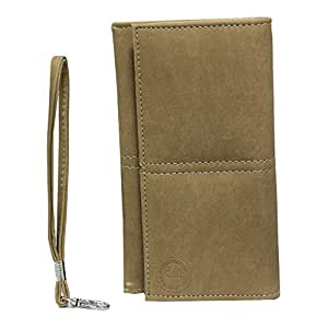 Jo Jo A5 Nilofer Leather Wallet Universal Pouch Cover Case For Intex Aqua Xtreme II Beige
