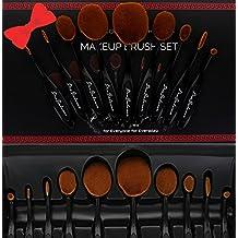 Great Gift Idea New Profesional Pro Balance Soft Hair Oval Makeup Brush Sets 10 Pcs Smooth Cosmetics wow Artis Toothbrush Brushes Foundation Eyeshadow Eyeliner Lip Contour Kit (10 Pcs Premium, Black) by 110OVBRSH10