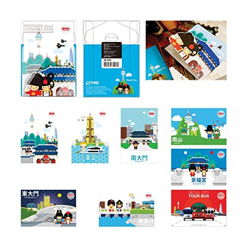 MKX Koreanisch-Travel-Postkarten-8 Blätter Wahrzeichen von Seoul drucken Papier 4 x 6-Postkarte-Porto