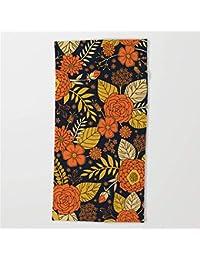 ewtretr Retro Orange, Yellow, Brown, Navy Floral Pattern Beach Towel 31.5