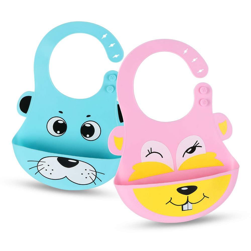 Vicloon Baberos del Bebé Impermeable,4pcs Delantal Ropa Babero Impermeable Infantil para Pintar con Mangas Largas de Bebé Unisexo Niños Niñas 6 Meses a 3 años Edad