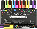 Chalk Pens - Pack of 10 neon colour markers. Used on Whiteboard, Chalkboard, Window, Blackboard - 6 mm Bullet Tip with 8 gram Ink