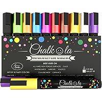 Chalkola Chalk Pens - Pack of 10 neon colour markers. Used on Whiteboard, Chalkboard, Window, Blackboard - 6 mm Bullet Tip with 8 gram Ink (Home & Garden)