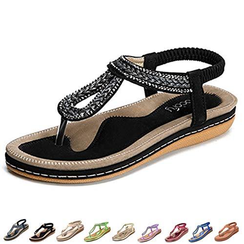 Camfosy Sandales Femmes Plates Été, Chaussures Nu...