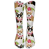Style Unisex Socks Casual Knee High Stockings Tropic Corgi Cotton Socks One Size