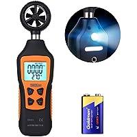 TACKLIFE-DE Tacklife DA03 Klassischer Anemometer Digital Windmesser 196-4900 ft/minmit Mini LCD Windgeschwindigkeitsmesser Thermometer 0 ° C bis 50 ° C mit Flügelrad Ein