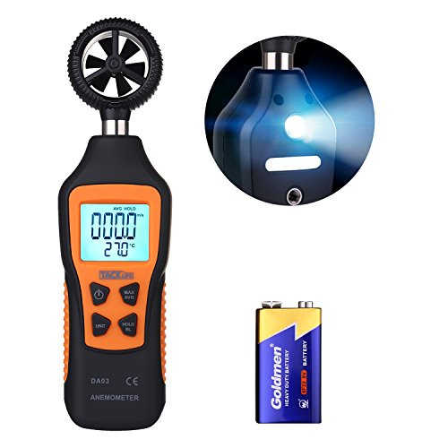 TACKLIFE Anemometer DA03 Digital Windmesser 196-4900 ft/Min Handheld Windgeschwindigkeitsmesser Thermometer 0 ° C bis 50 ° C Windmessgerät mit LCD Anzeige
