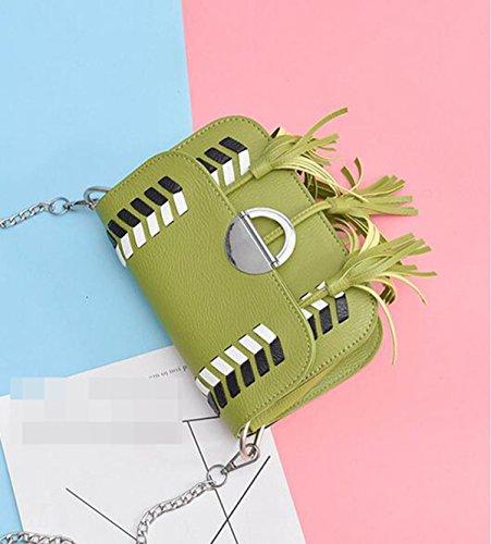 QPALZM QPALZM Mädchen Kämpfen Farbenpaket 2017 Weiche PU-Art Und Weisetroddelfrauen-Schulterbeutel-diagonale Paketbeutel Green