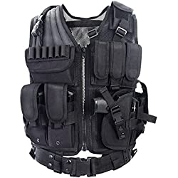 YAKEDA Army fans Tactical Vest CS Field Outdoor Equipment Supplies Breathable lightweight tactical vest SWAT Tactical Vest Special Forces combat training vest--VT-1063(black)