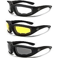 Choppers gafas acolchado hombres gafas de motorista de la motocicleta Set (1amarillo, 1googles gafas de humo, 1transparente)