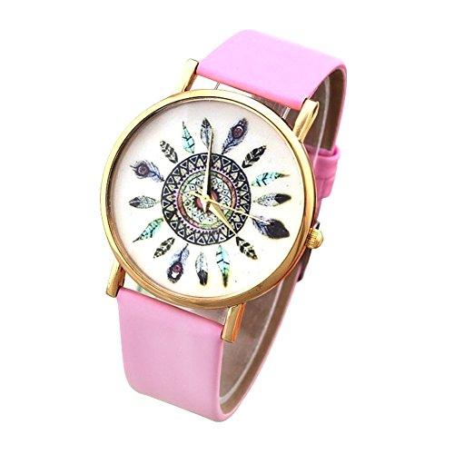 Oumosi donne analogico al quarzo retro piuma di pavone modello quadrante orologio da polso. Pink