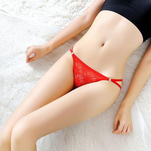 Meiye Lace Verstellbare Thong Frauen Low-Rise V-String Panties Rot