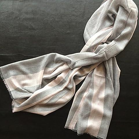 Unisex autunno e inverno caldo spessore lungo paragrafo gradiente frangia Cashmere sciarpa scialle , pink stripes