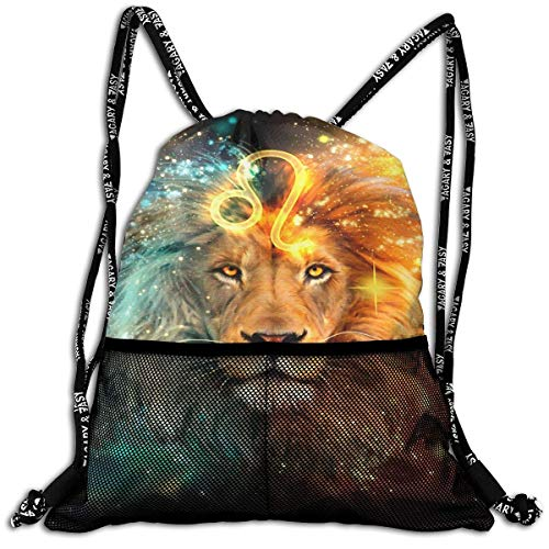 Voxpkrs Casual Drawstring Gym Backpack Lion Constellation Gym Bags Sackpack Knapsack for Unisex Women/Men/Girls/Boys/Kids