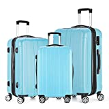 "Fochier Conjunto de 3 piezas de equipaje Expandible Hard Shell Spinner maleta ligero,(20"" 24"" 28""),Azul"