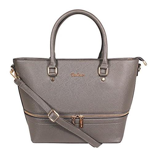 Tom & Eva Front Zip Damen Kunstleder Handtasche in grau