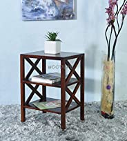 Woodlab Furniture Sheesham Wood Bedside Table and Bookshelf with 2 Open Shelves Storage for Home (Brown)