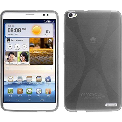 PhoneNatic Case für Huawei MediaPad X1 Hülle Silikon grau, X-Style + 2 Schutzfolien