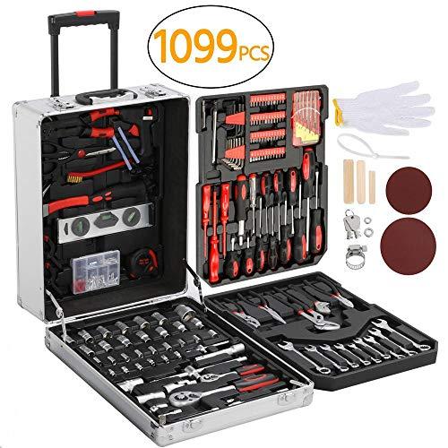 Yaheetech 1099er Werkzeugkasten mit Werkzeug Universal Werkzeugset Werkzeugkoffer Trolley