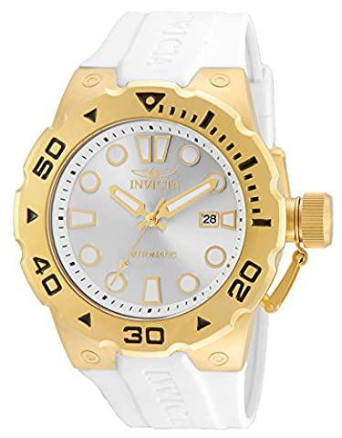 INVICTA Pro Diver Men's Automatic Watch with Silver Dial Analogue Display and White Polyurethane Strap - 23507