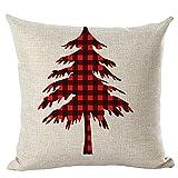 SMILEQ Frohe Weihnachten Kissenbezüge Leinen Sofa Kissenbezug Home Decor Kissenkern (18