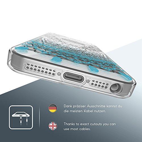 URCOVER® Coquille Tactile 360 degrés | Apple iPhone SE / 5 / 5s | Dream Catcher Mandala in Noir | Silicone Transparent Doux Protection Écran 3d Étui Housse Mince Tribal Bleu
