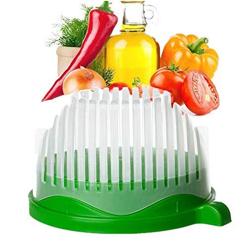 Faneli Salat Cutter Schüssel, Cutter Schüssel Gemüseschneider Schüssel, Küche 3 in 1 Salatschüssel, Gemüseschneider mit Schäler inklusive -