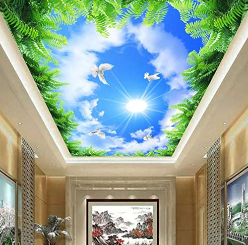 3D Vliestapete Fototapete 3D Atmosphere Home Living Room Bedroom Ceiling Wallpaper Blue Sky White Clouds Green Leaves Ceiling Background Wall Covering Decorative Murals, 430 * 300