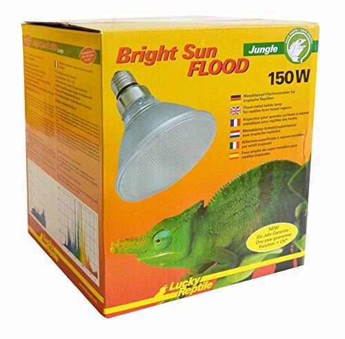 Lucky Reptile BSFJ-150 Bright Sun Flood Jungle, 150 W, Metalldampflampe für E27 Fassung mit UVA und UVB Strahlung FLOOD (Vorschaltgerät erforderlich)