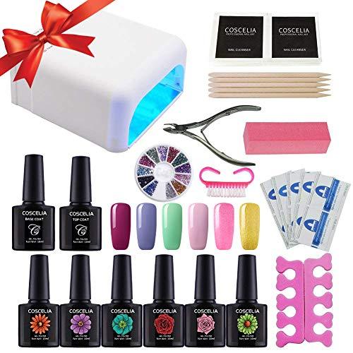 Coscelia UV Nagelset Gellack Set UV Gel Nagelgel Starterset Nail Set Nageldesign Gelnägel Farbgel Kits Weihnschtsgeschenk Set