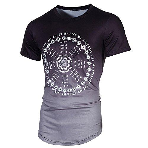 VEMOW Sommer Cool Männer Slim Fit O-Ausschnitt Kurzarm Muscle T-Shirts Casual Täglichen Business Workout Lose T-Shirt Tops Bluse Pulli(Schwarz, EU-48/CN-M)