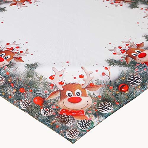 KAMACA Serie Elch mit roter Nase hochwertiges Druck-Motiv mit lustigen Elchen Eyecatcher in Winter Weihnachten (Tischdecke 85x85 cm)