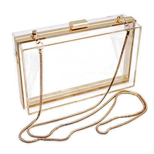 HQdeal Luxe Acrylique à la Mode Transparent Pochettes...