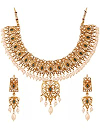 Touchstone Golden Plated Indian Bollywood Kundan Look Faux Pearls Bridal Jewelry Necklace Set For Women