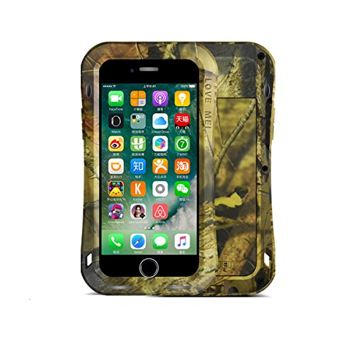 LOVE MEI Fall für iPhone 7 Plus, [ Camouflage Series ] Metal Aluminum Tasche mit Gehärtetes Glas Corning Gorilla Glass Military Heavy Duty wasserdicht Hülle für Apple iPhone 7 Plus (Jungle Camo) (Corning Gorilla Glas Iphone 4)