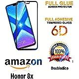 Doubledicestore® Honor 8X Premium 5D Curved Edge-to-Edge Tempered Glass Screen Protector (Black) Full Glue (Black)